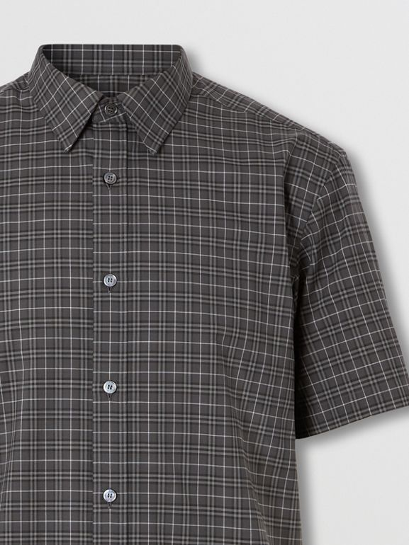 Short-sleeve Check Cotton Shirt in Dark Grey - Men | Burberry - cell image 1