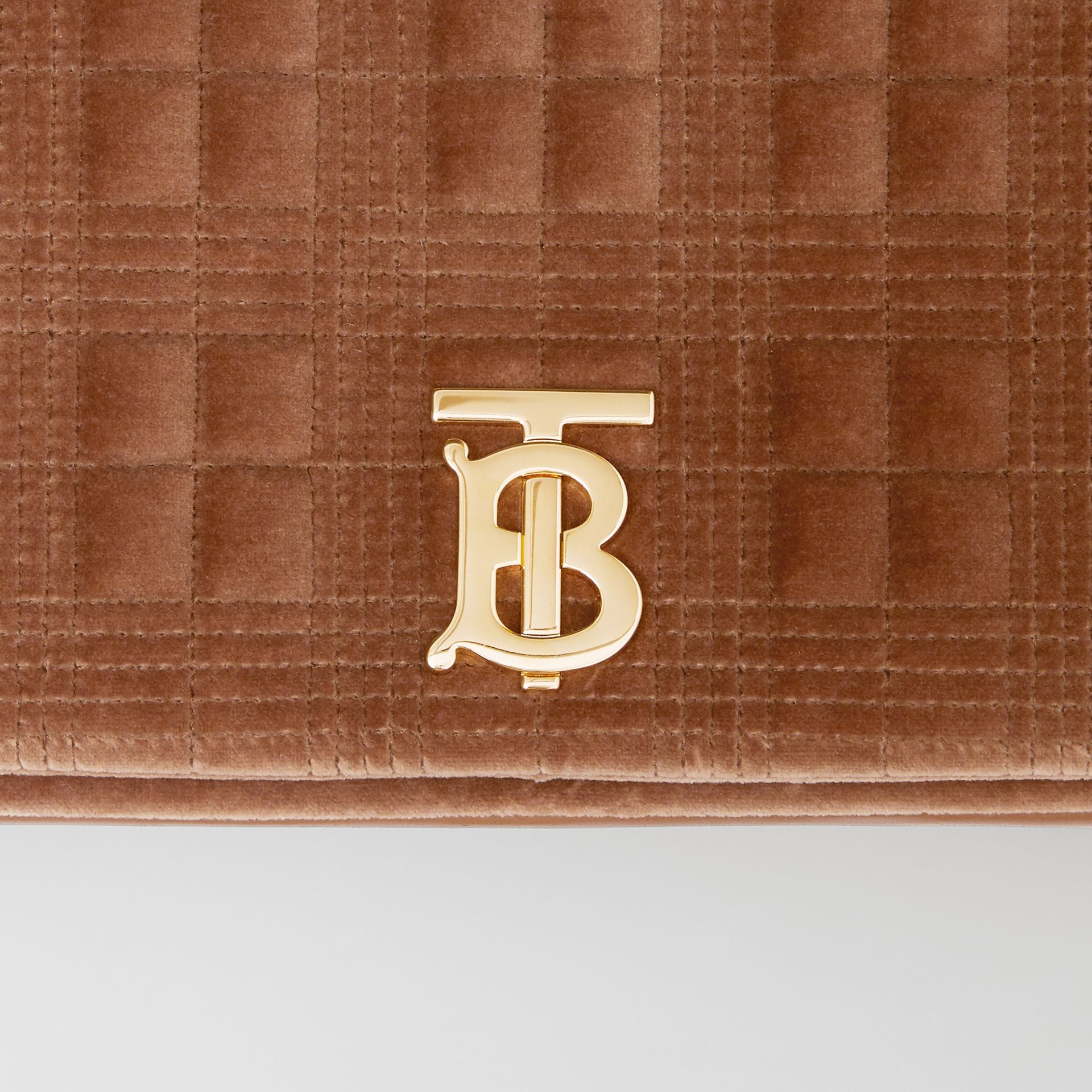 Medium Quilted Velvet Lola Bag in Fawn - Women | Burberry United Kingdom - gallery image 1