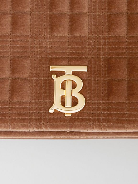 Medium Quilted Velvet Lola Bag in Fawn - Women | Burberry United Kingdom - cell image 1