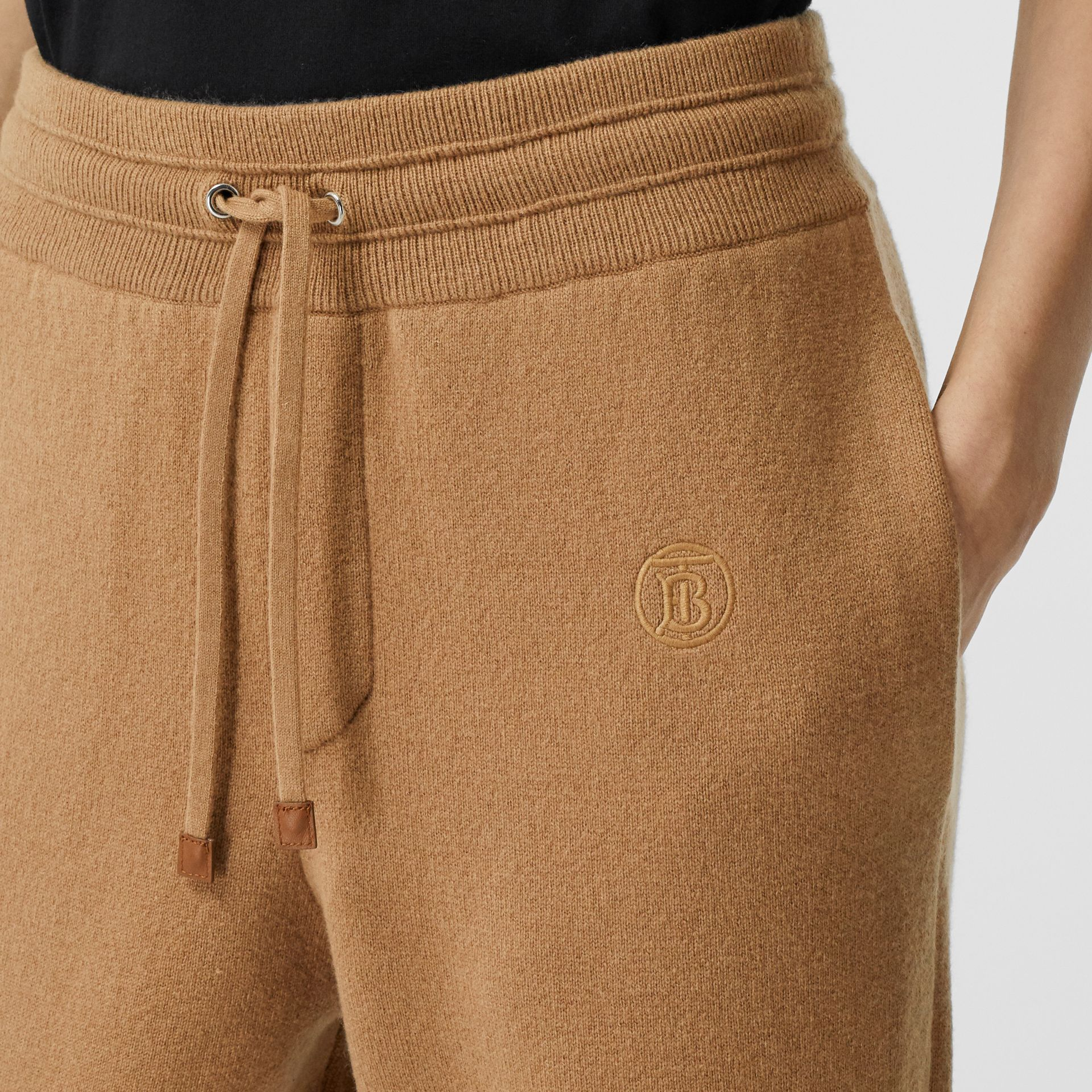 Monogram Motif Cashmere Blend Jogging Pants in Camel - Women | Burberry - gallery image 1