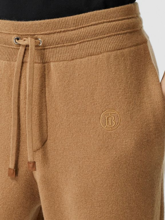 Monogram Motif Cashmere Blend Jogging Pants in Camel - Women | Burberry - cell image 1