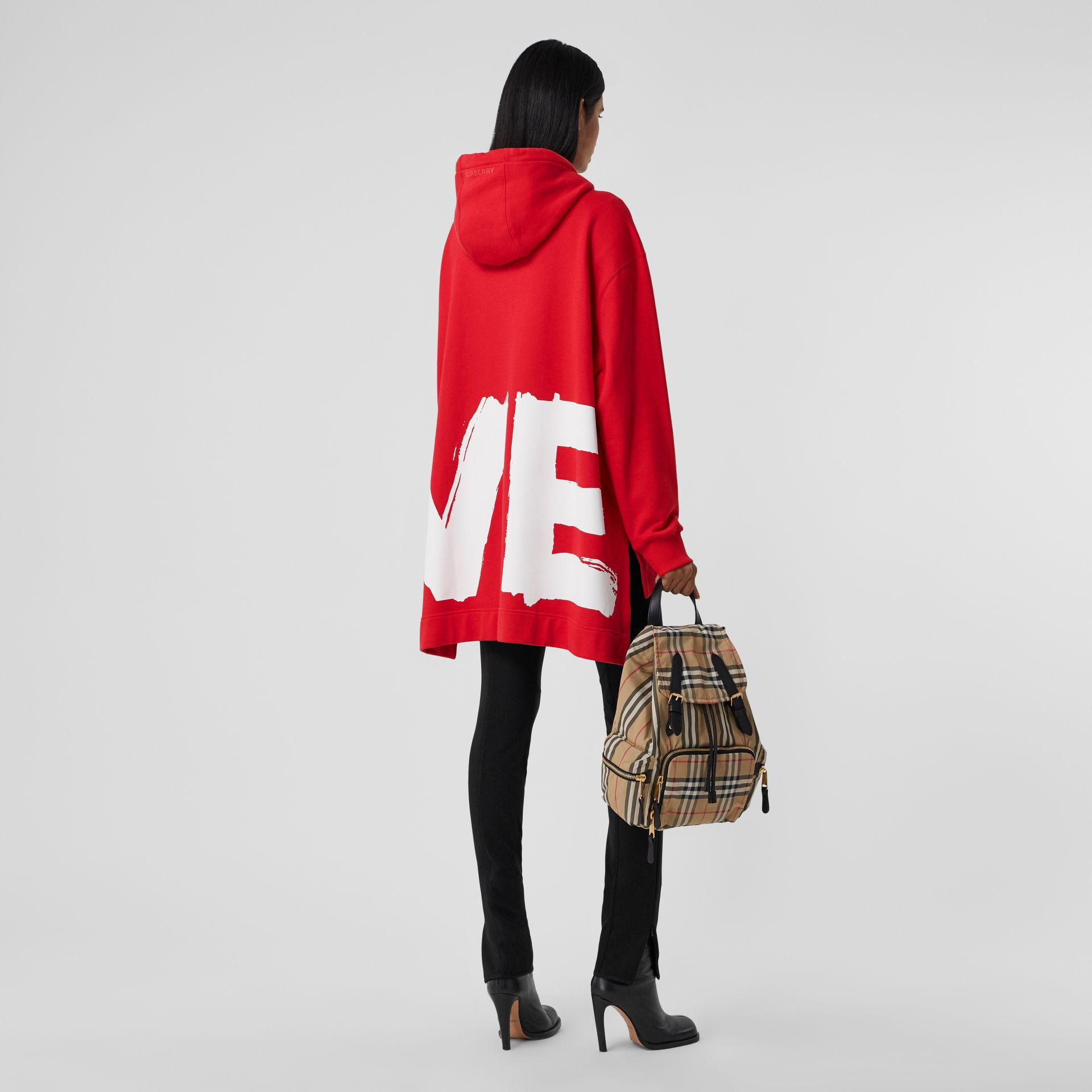 Love Print Cotton Oversized Hoodie in Bright Red - Women | Burberry - gallery image 6