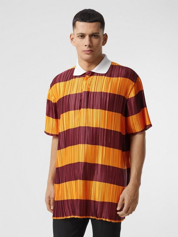 Striped Satin Plissé Polo Shirt in Citrus Orange