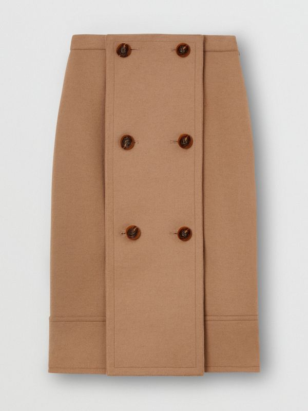 Button Panel Detail Wool Cashmere A-line Skirt in Camel - Women | Burberry United Kingdom - cell image 3