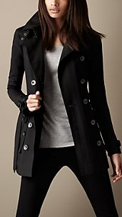 Trench coat corto in cotone tecnico