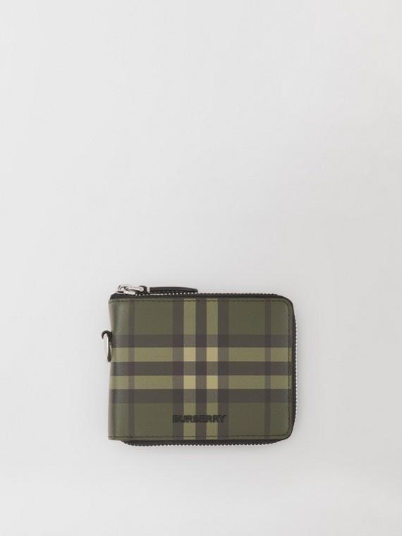Lederbrieftasche mit Karomuster, Reißverschluss und Lanyard-Band (Militärgrün)