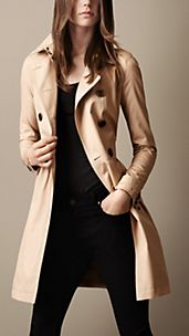 Mid-Length Cotton Poplin Gathered Skirt Trench Coat