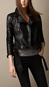 Trench Belt Leather Biker Jacket
