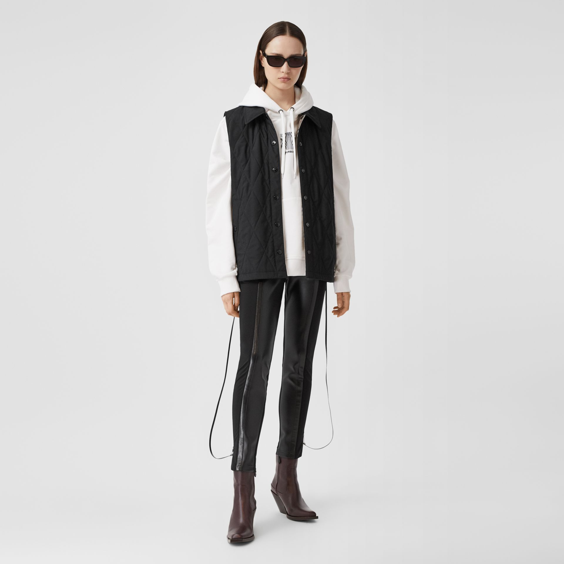 Diamond Quilted Gilet in Black   Burberry United Kingdom - gallery image 0