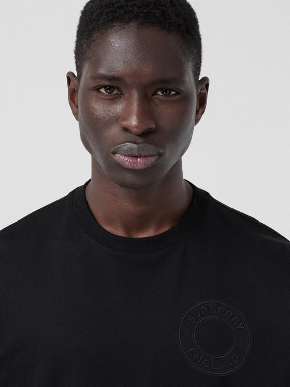 Oversize-T-Shirt aus Baumwolle mit Logo-Grafik (Schwarz)