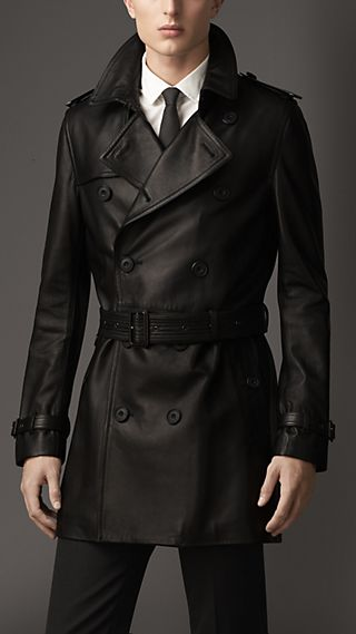 Mid-Length Lambskin Trench Coat