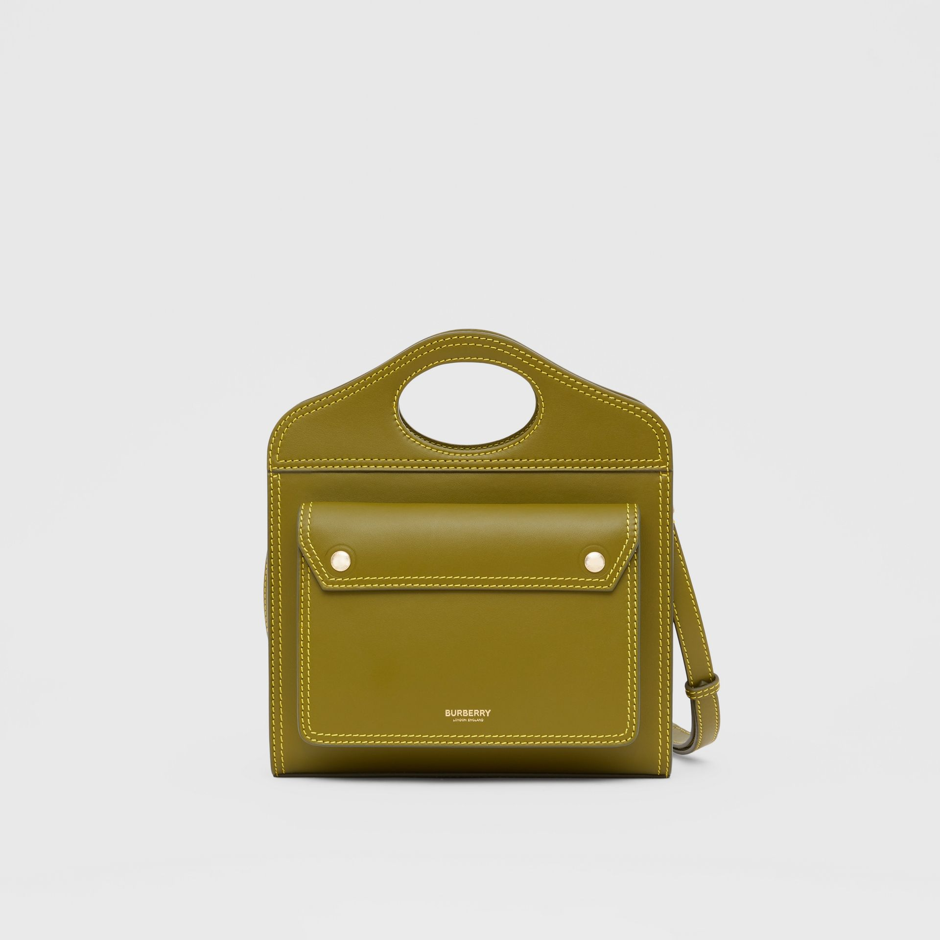 Mini Topstitched Leather Pocket Bag in Juniper Green - Women | Burberry Singapore - gallery image 0