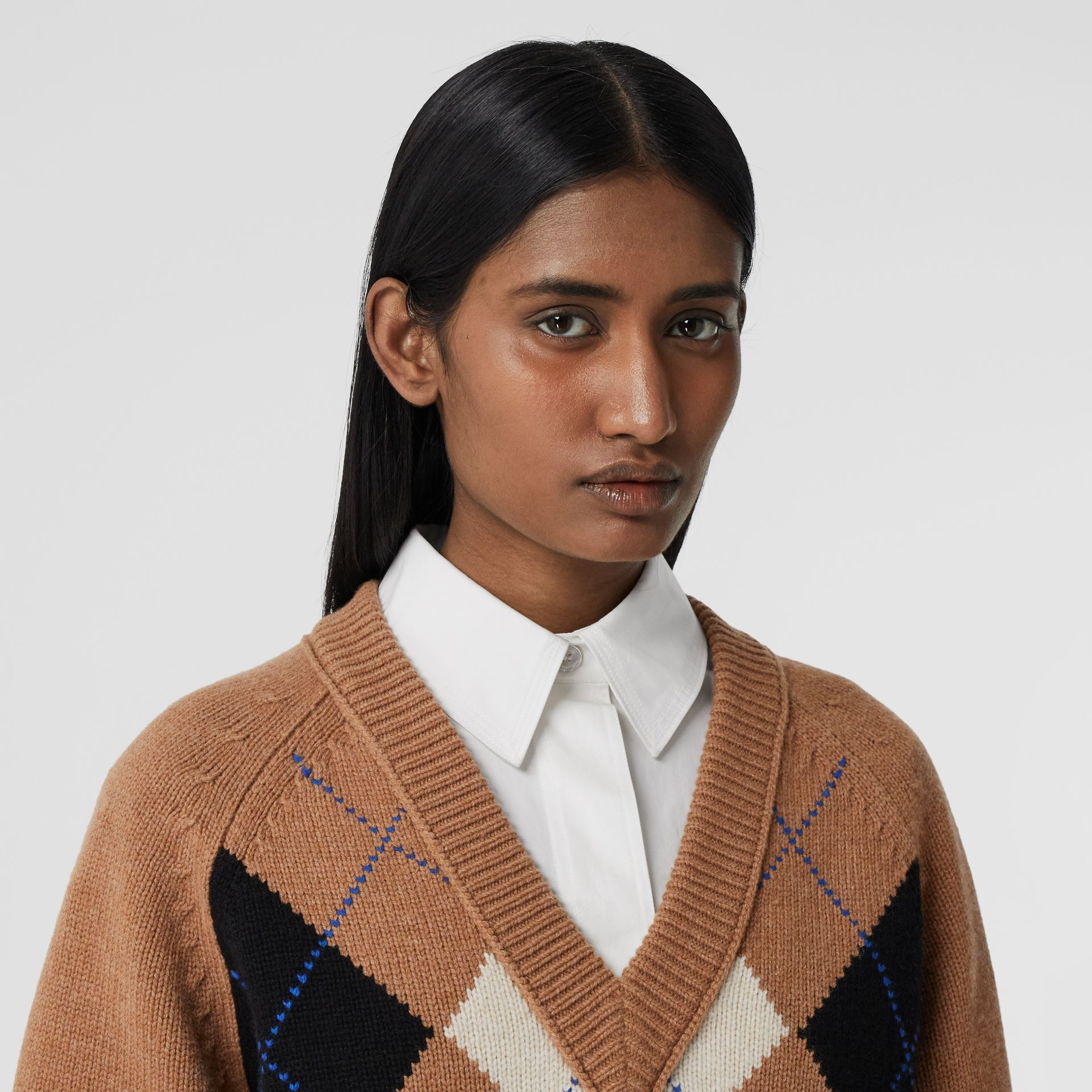 Cut-out Detail Argyle Intarsia Wool Cashmere Sweater in Camel - Women | Burberry - gallery image 1