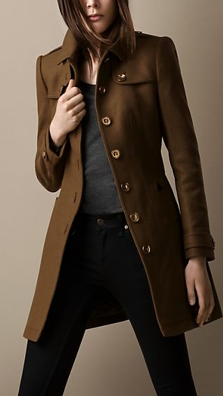 Leather Trim Military Coat