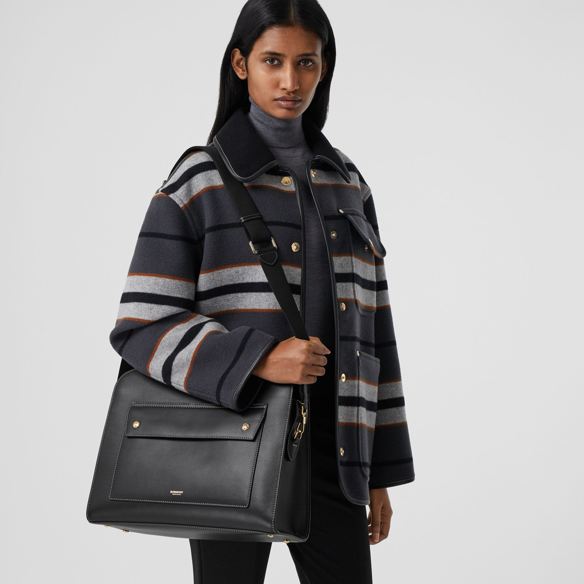 Medium Topstitched Leather Pocket Tote in Black - Women | Burberry - gallery image 8
