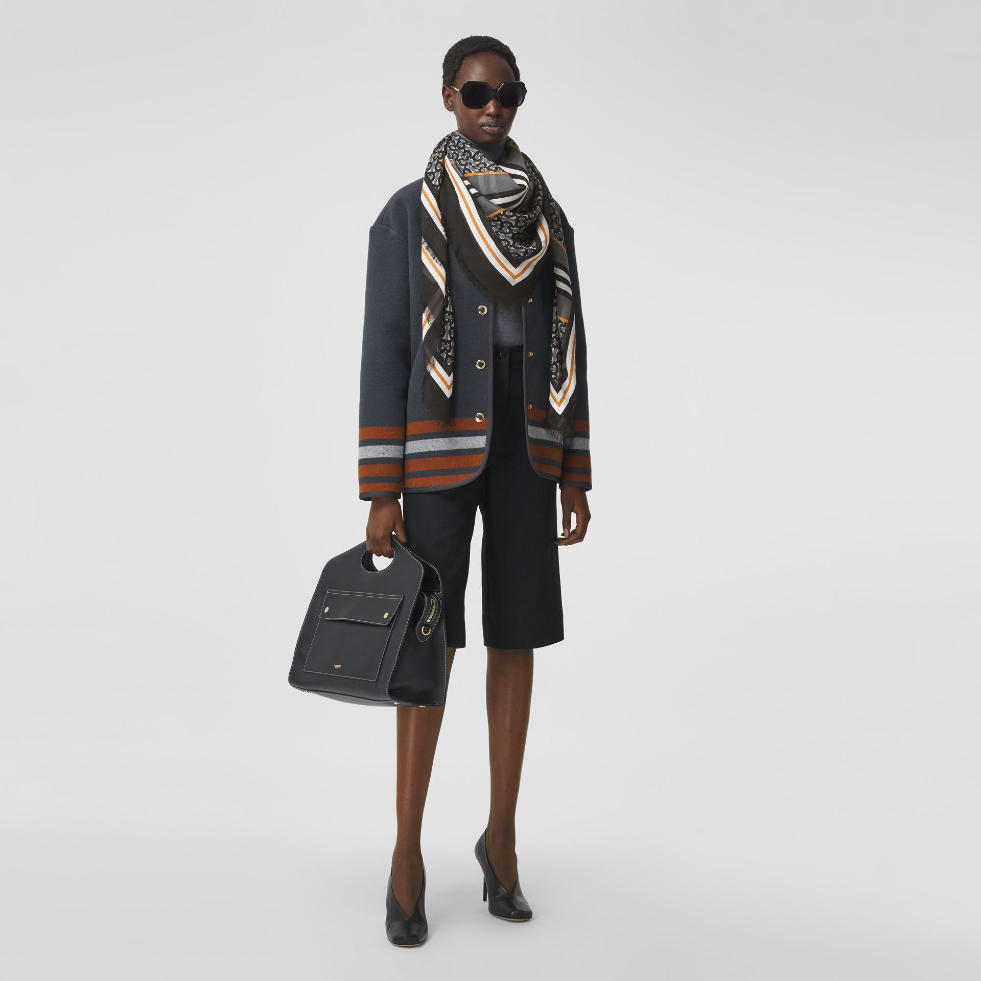 Icon Stripe Monogram Print Wool Silk Square Large Scarf in Graphite | Burberry - gallery image 5