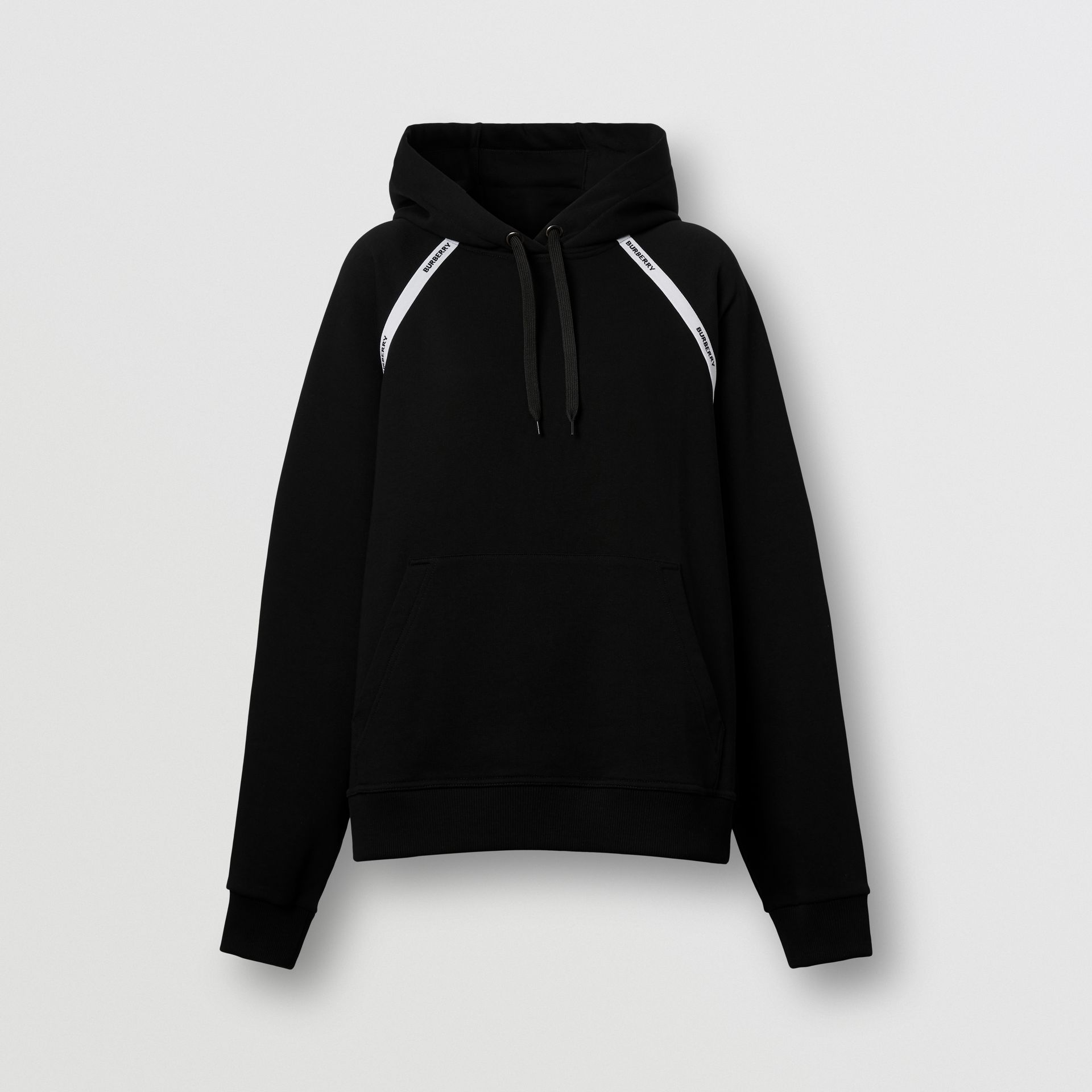 Logo Tape Cotton Oversized Hoodie in Black - Women | Burberry - gallery image 3