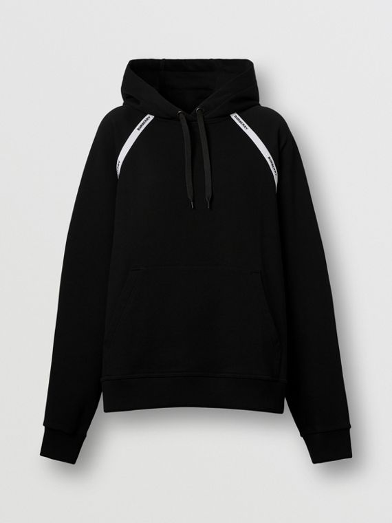 Logo Tape Cotton Oversized Hoodie in Black