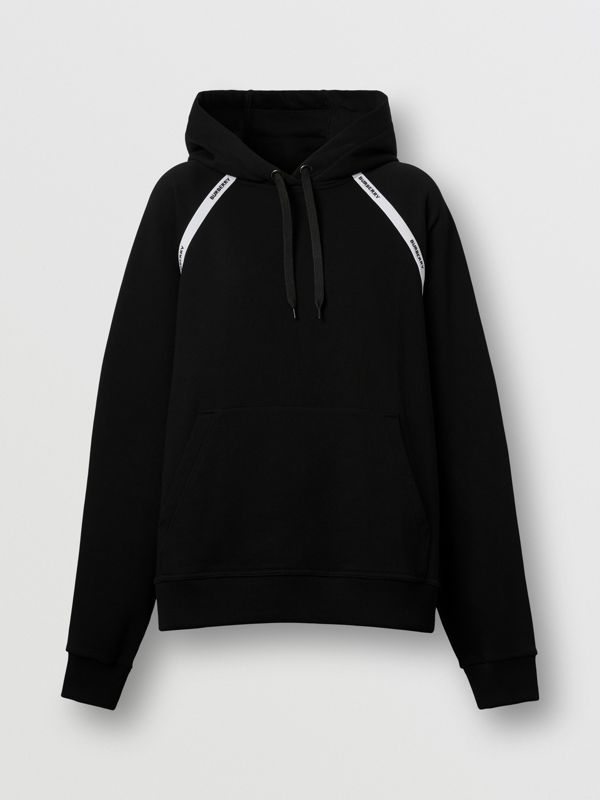 Logo Tape Cotton Oversized Hoodie in Black - Women | Burberry - cell image 3