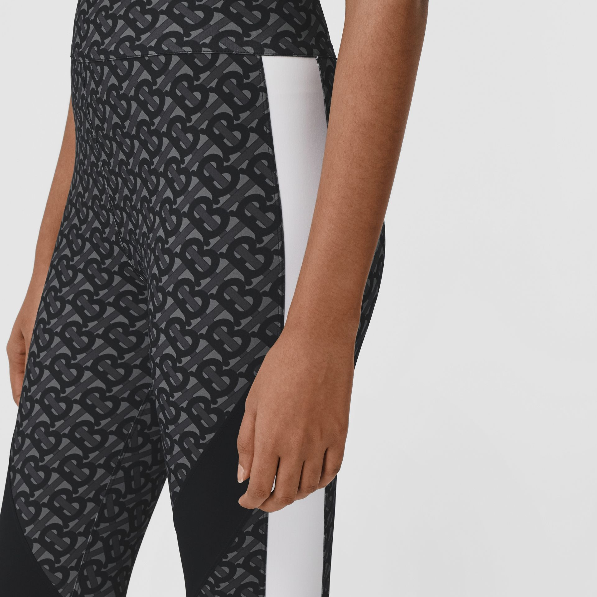 Colour Block Monogram Print Stretch Jersey Leggings in Graphite - Women | Burberry - gallery image 1