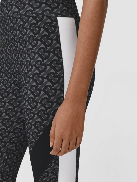 Colour Block Monogram Print Stretch Jersey Leggings in Graphite - Women | Burberry - cell image 1