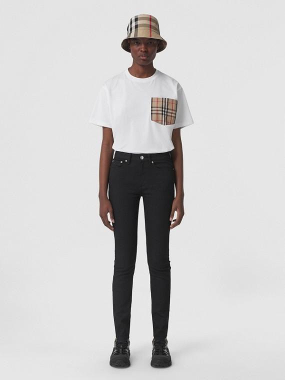 Oversize-T-Shirt mit Vintage Check-Tasche (Weiß)