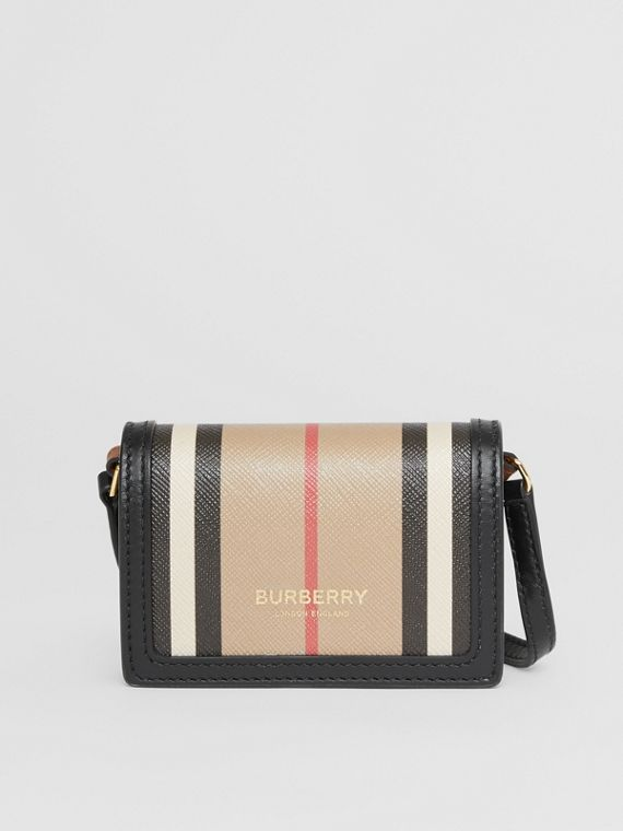 Icon Stripe E-canvas Card Case with Detachable Strap in Archive Beige