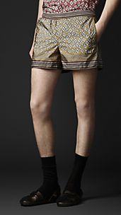 Geometric Diamond Print Swim Shorts