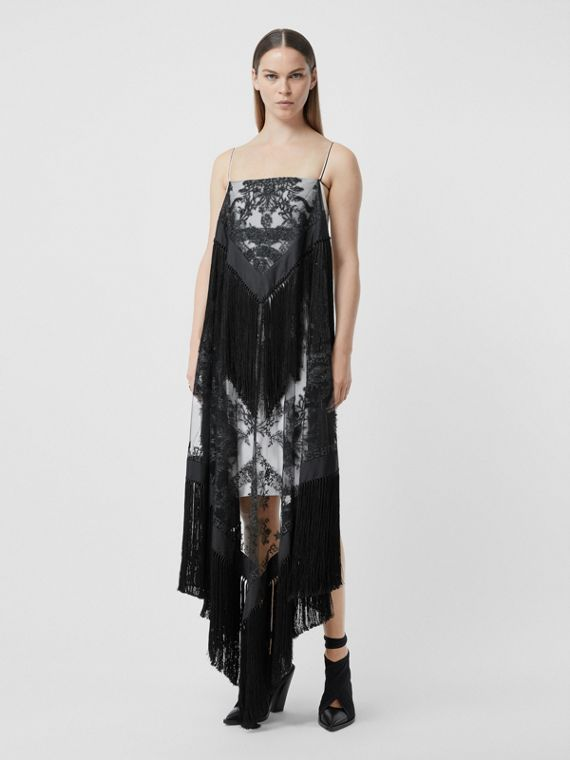 Fringed Embroidered Tulle, Twill and Silk Scarf Dress in Snow White/black