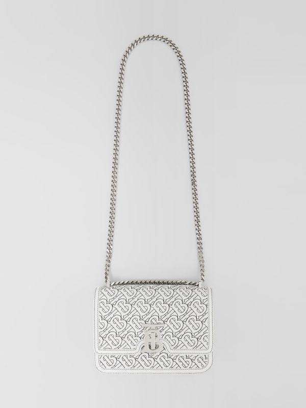 Small Quilted Monogram Lambskin TB Bag in Optic White - Women | Burberry - cell image 3