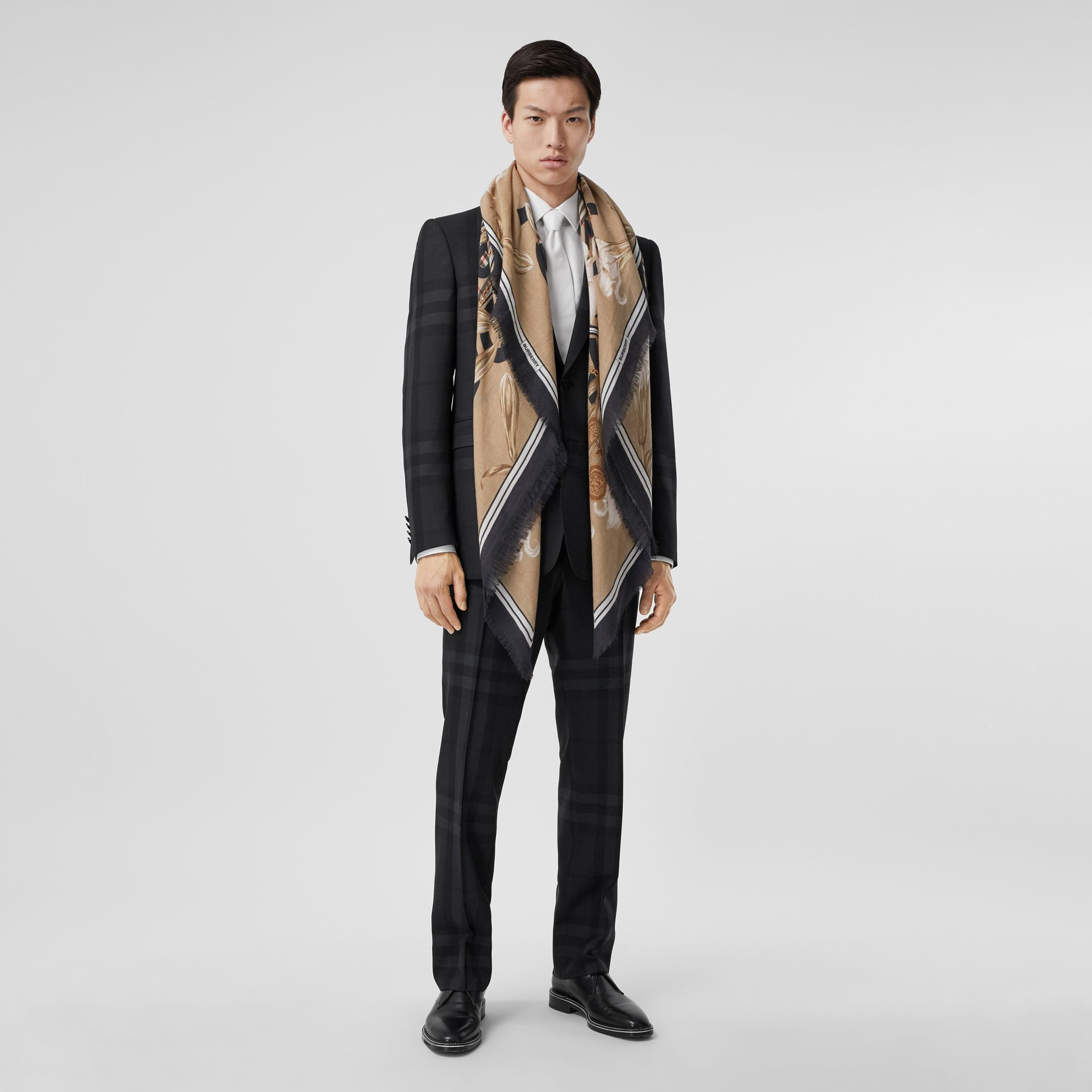 Archive Scarf Print Cashmere Large Square Scarf in Beige | Burberry - gallery image 6
