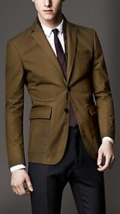 Modern Fit Waxed Cotton Sports Jacket with Leather Undercollar