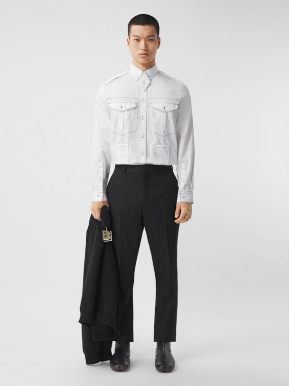 Topstitched Cotton Satin Shirt in White