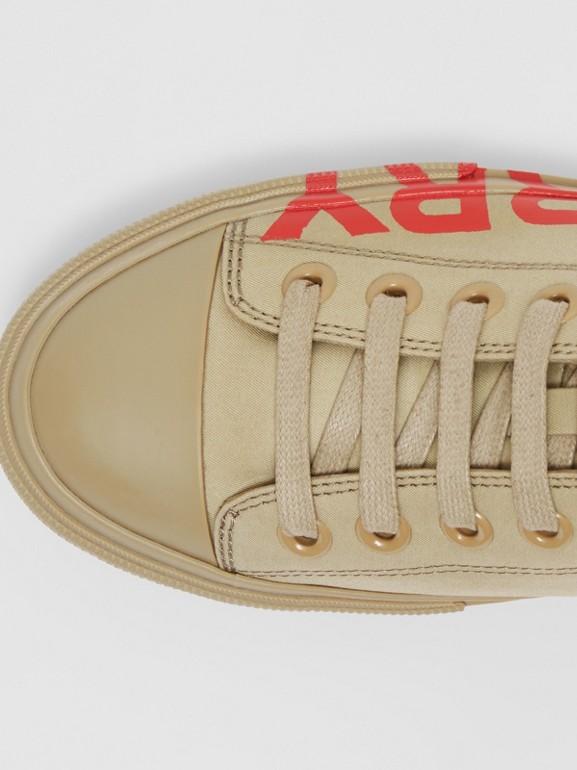 Logo Print Cotton Gabardine Sneakers in Dark Honey - Women | Burberry - cell image 1
