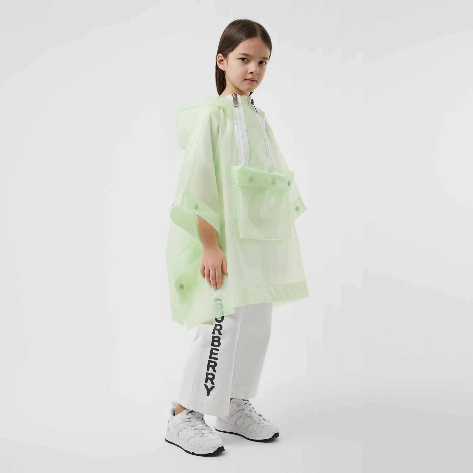 Logo Print Showerproof Hooded Poncho in Pistachio   Burberry - gallery image 2