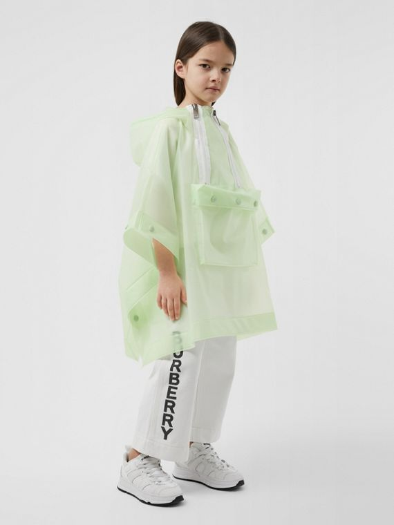 Logo Print Showerproof Hooded Poncho in Pistachio