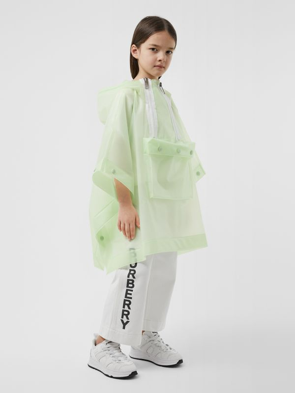 Logo Print Showerproof Hooded Poncho in Pistachio   Burberry - cell image 2