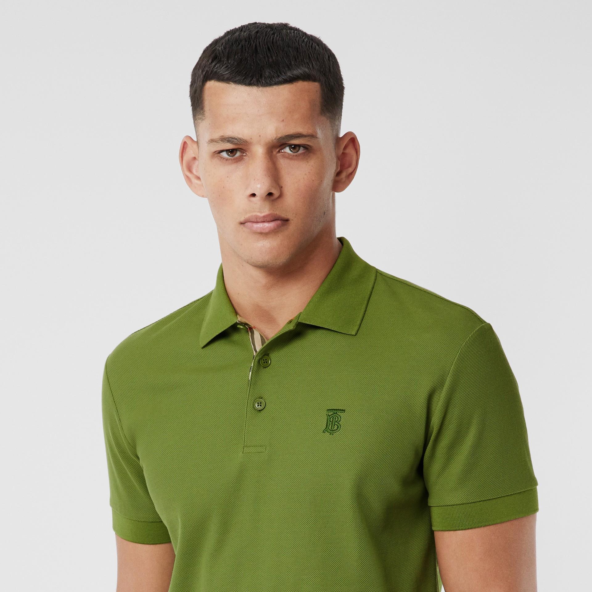 Monogram Motif Cotton Piqué Polo Shirt in Cedar Green - Men   Burberry - gallery image 1