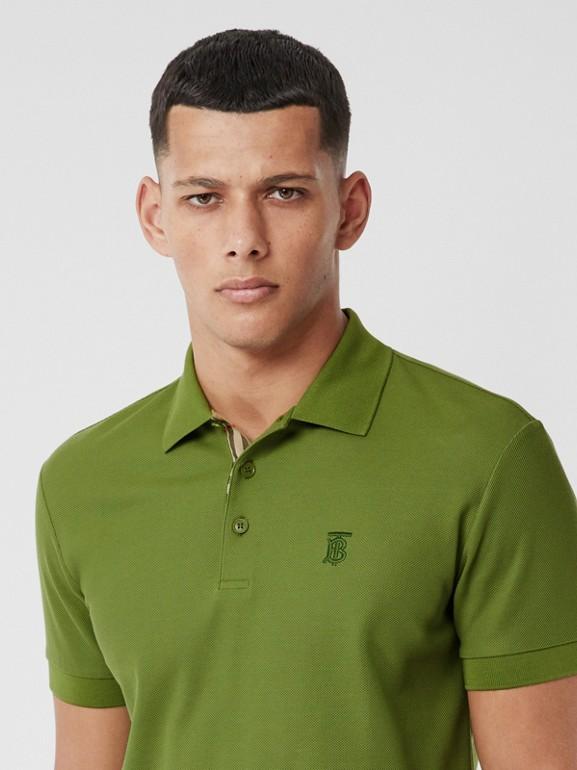 Monogram Motif Cotton Piqué Polo Shirt in Cedar Green - Men   Burberry - cell image 1