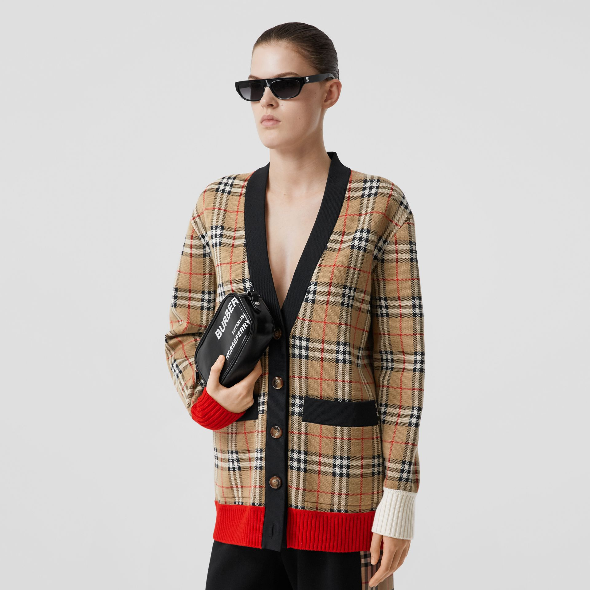 Vintage Check Merino Wool Blend Jacquard Cardigan in Archive Beige - Women | Burberry - gallery image 5