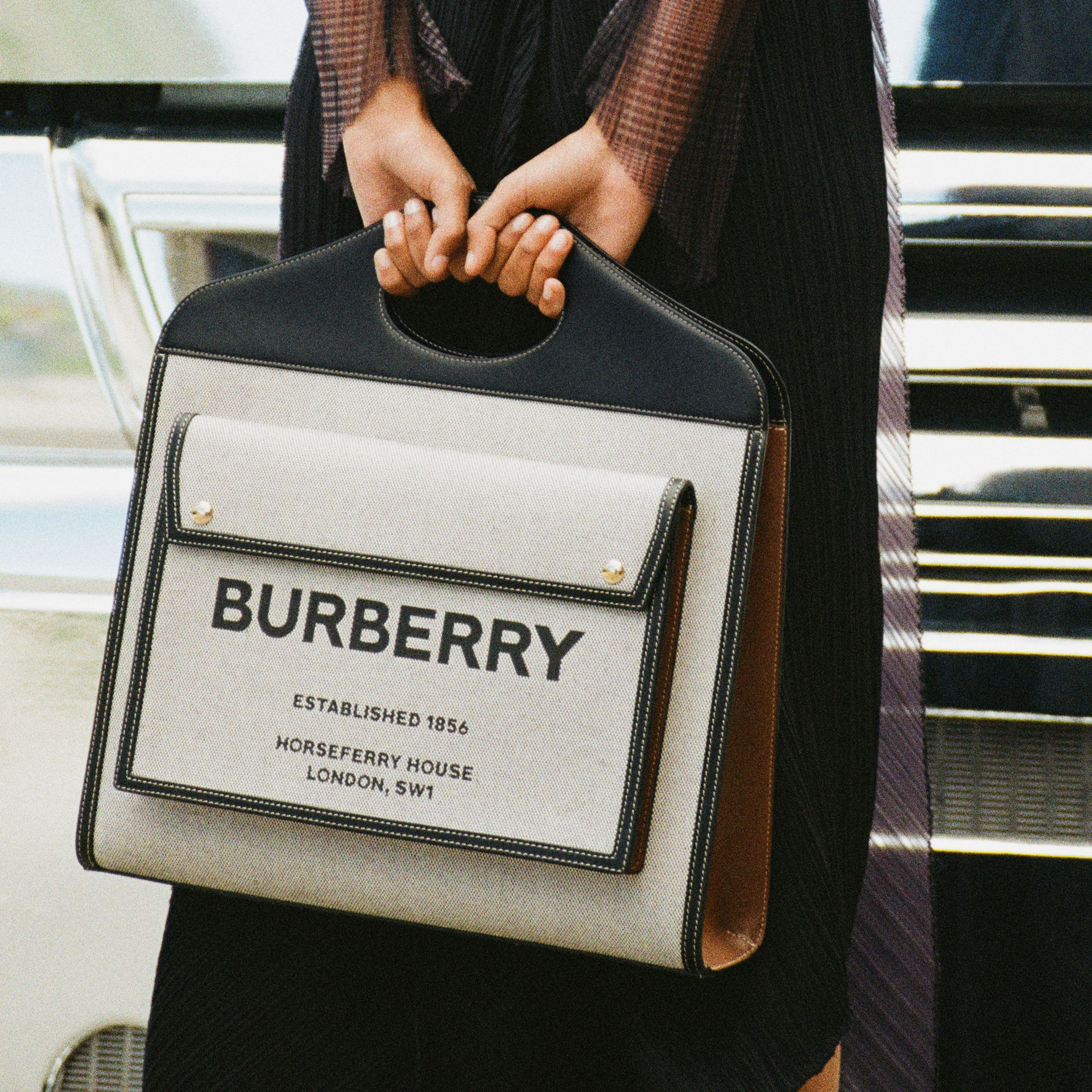 Medium Two-tone Canvas and Leather Pocket Bag in Black/tan - Women | Burberry - gallery image 9
