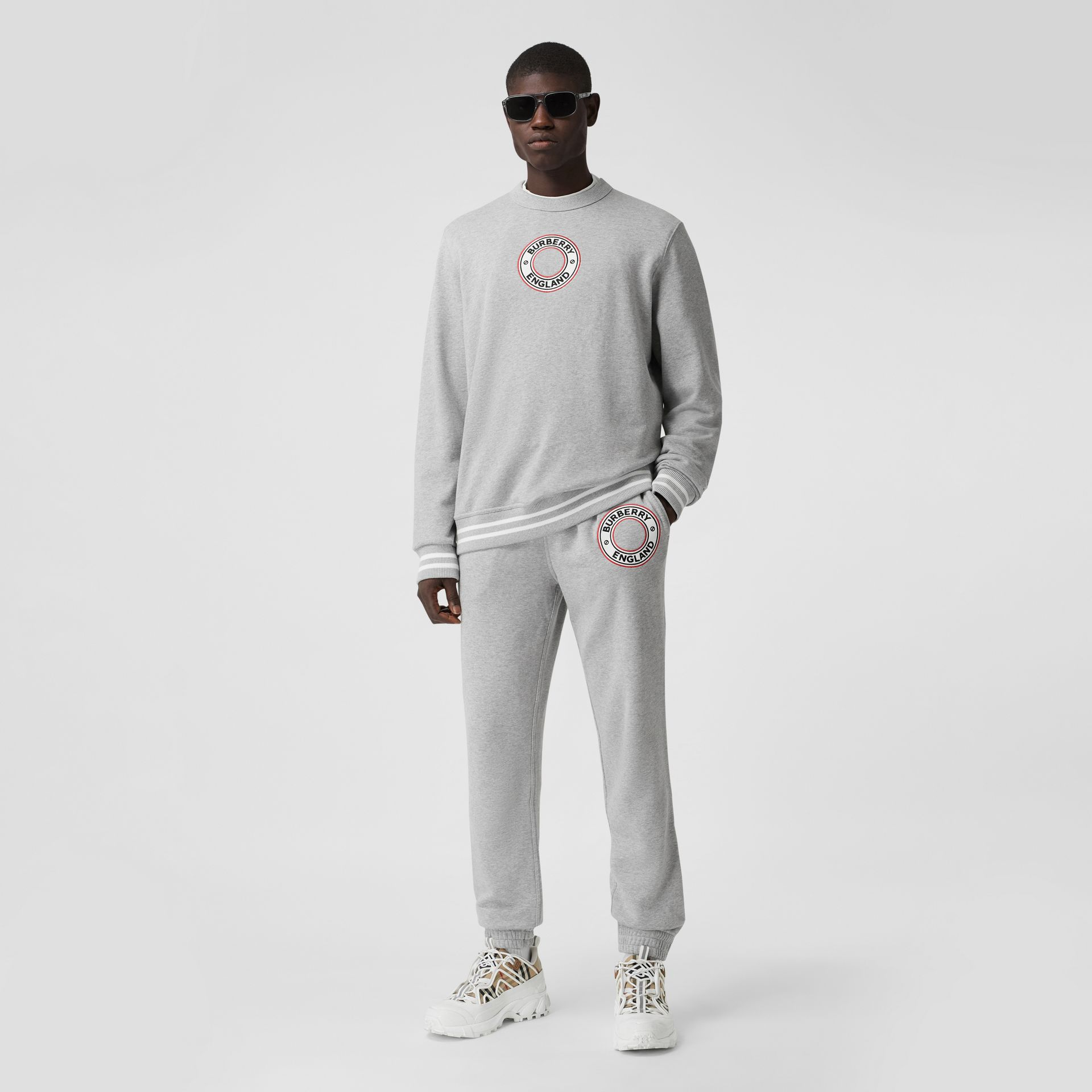 Logo Graphic Appliqué Cotton Jogging Pants in Pale Grey Melange - Men | Burberry - gallery image 0