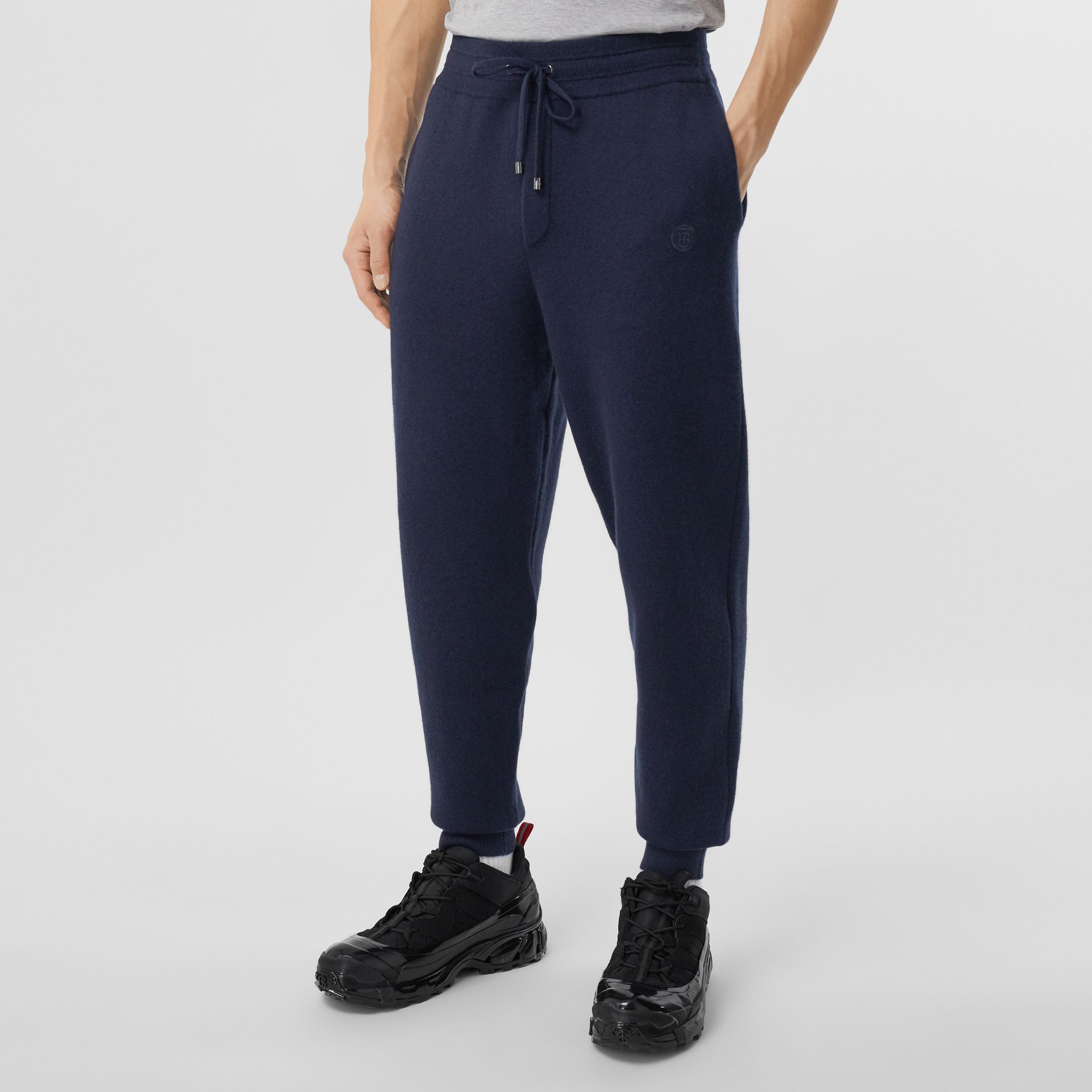 Monogram Motif Cashmere Blend Jogging Pants in Navy - Men | Burberry - gallery image 4