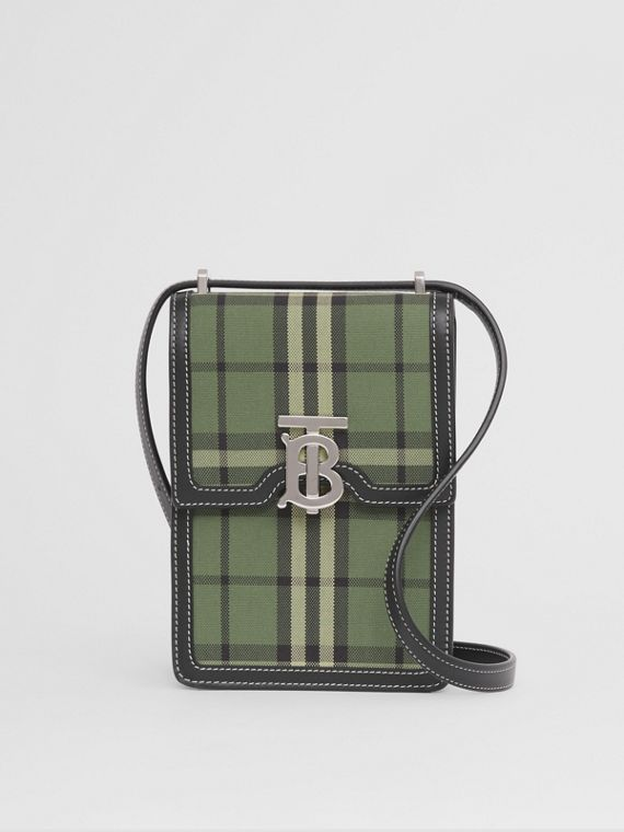 Check Cotton and Leather Robin Bag in Military Green