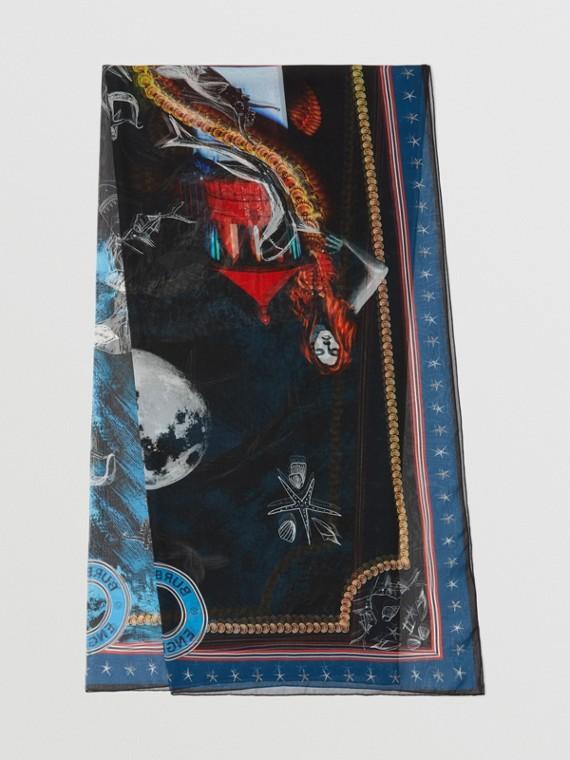 Foulard en mousseline de soie à imprimé sirène (Bleu Nuit)