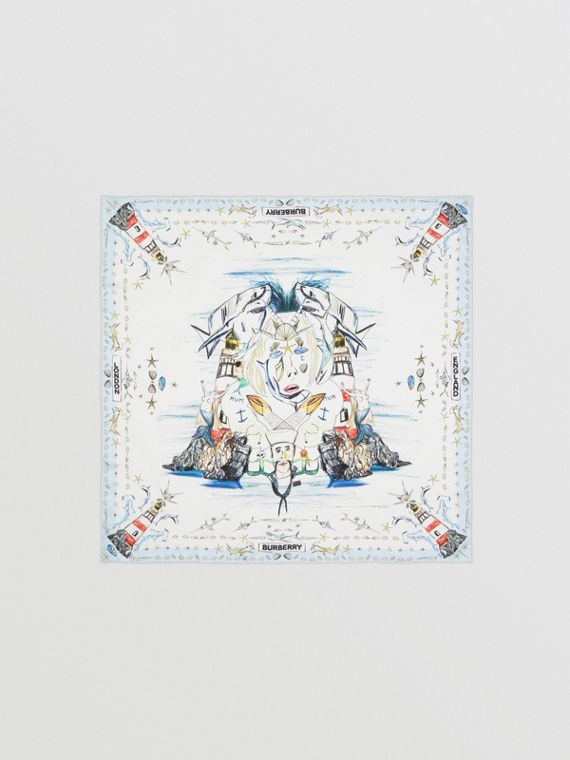 Marine Sketch Print Silk Square Scarf in White