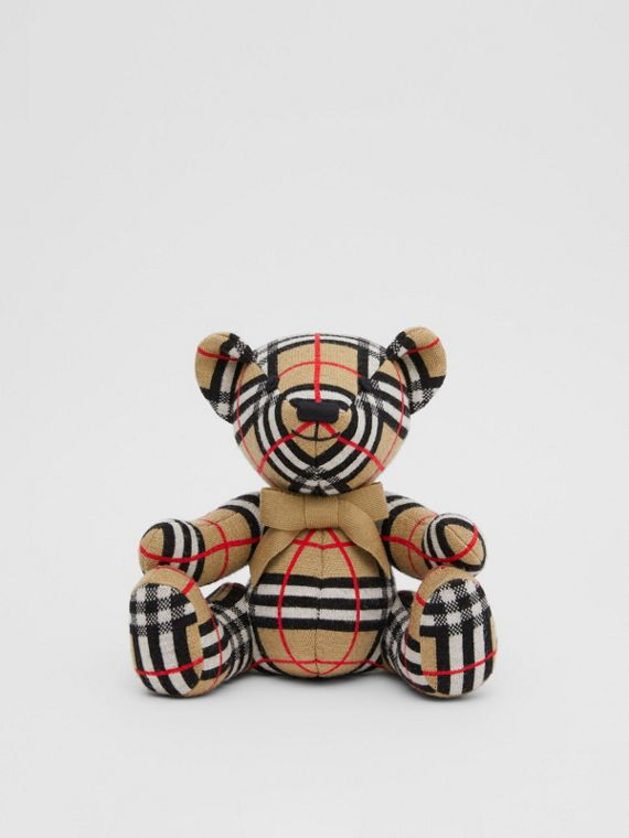 Check Wool Thomas Bear in Archive Beige