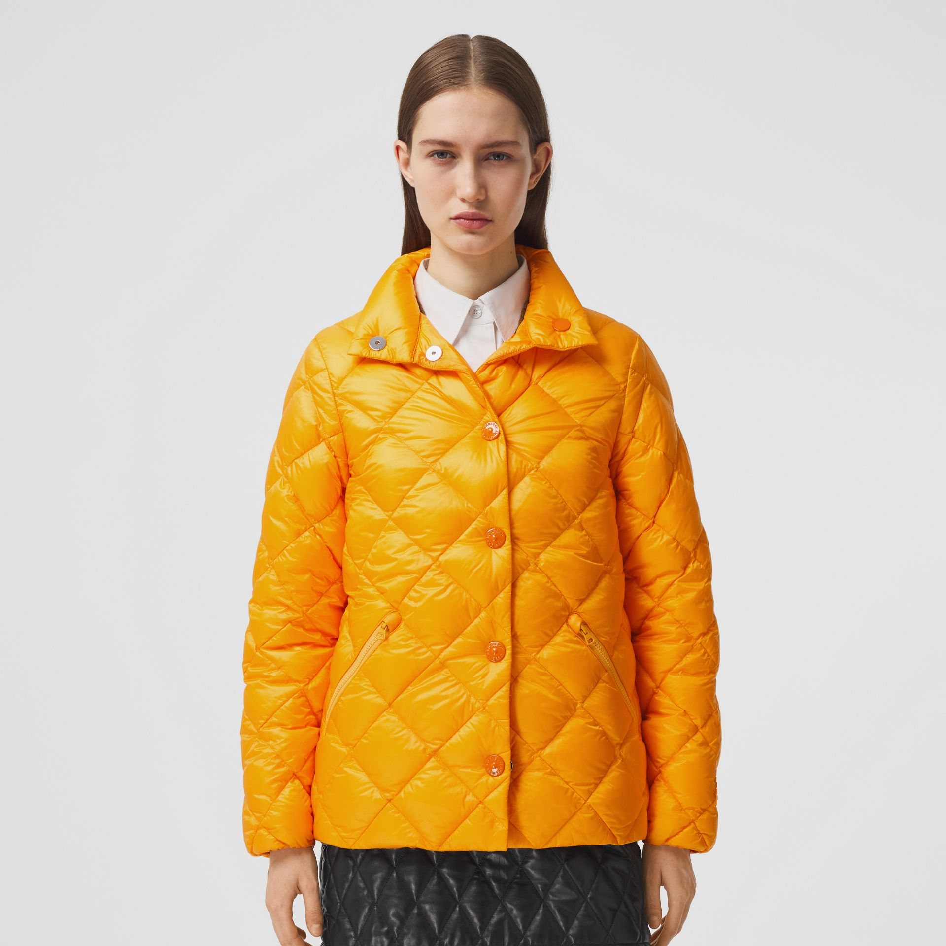 Diamond Quilted Down-filled Jacket in Citrus Orange - Women | Burberry - gallery image 5
