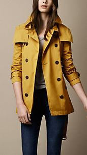 Short Cotton Nylon Gabardine Detachable Hood Trench Coat
