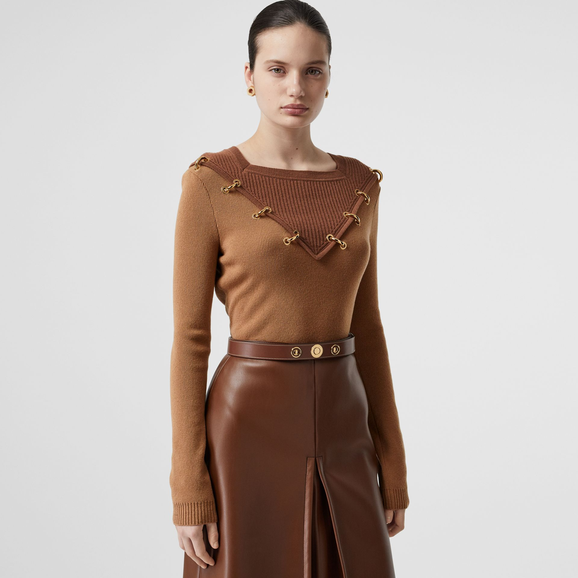 Ring-pierced Two-tone Wool Cashmere Sweater in Warm Camel - Women   Burberry - gallery image 0